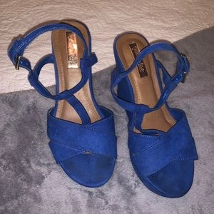 Zara Royal Blue Suede Wedges